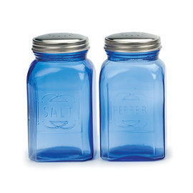 RSVP RSVP 'Retro' S&P Shakers Glass 8 oz Blue