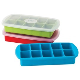 Harold Import Company Inc. HIC Silicone Ice Cube Tray with Cover Assorted