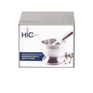 Harold Import Company Inc. HIC Stainless Steel Mortar & Pestle with Cover