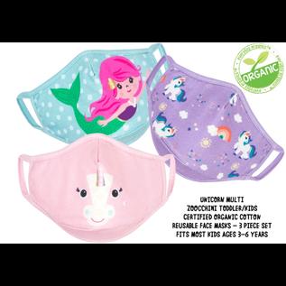 ZOOCCHiNi ZOOCCHiNi Organic Reusable Face Masks for Kids 3+ yr Multi 3 pc Set Unicorn