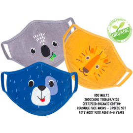 ZOOCCHiNi ZOOCCHiNi Organic Reusable Face Masks for Kids 3+ yr Multi 3 pc Set Dog