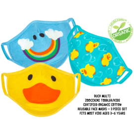 ZOOCCHiNi ZOOCCHiNi Organic Reusable Face Masks for Kids 3+ yr Multi 3 pc Set Duck
