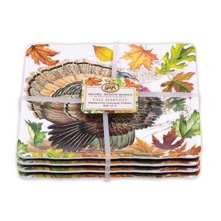 Michel Design Works Michel Design Works Melamine Serveware Canape Plates set of 4 Fall Harvest
