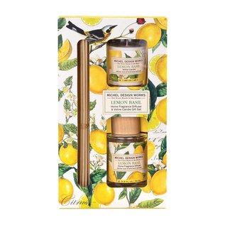 Michel Design Works Michel Design Works Home Fragrance Diffuser & Votive Candle Gift Set Lemon Basil