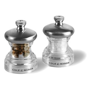 Cole & Mason Cole & Mason Button Mini Salt and Pepper Grinder Set Chrome