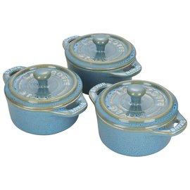 Staub Staub Ceramic Mini Round Cocotte 3 pc Set Rustic Turquoise