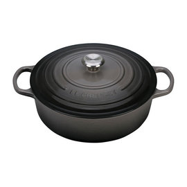 Le Creuset Le Creuset Signature Round Wide Dutch Oven with Stainless Steel Knob 6.75 Qt Oyster Grey
