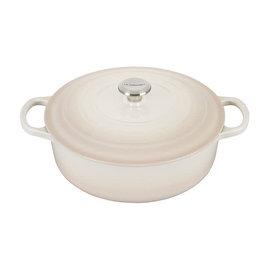 Le Creuset Le Creuset Signature Round Wide Dutch Oven with Stainless Steel Knob 6.75 Qt Meringue