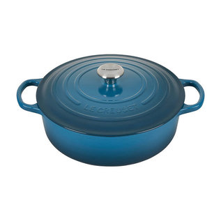 Le Creuset Le Creuset Signature Round Wide Dutch Oven with Stainless Steel Knob 6.75 Qt Deep Teal