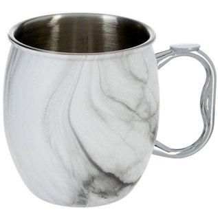 OGGI OGGI Moscow Mule Mug Stainless Steel with White Marble Finish 20 oz