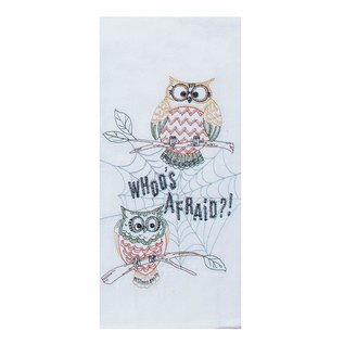 Kay Dee Designs Embroidered Flour Sack Towel Whoo's Afraid SPECIAL BUY