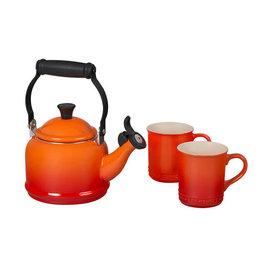 Le Creuset Le Creuset 1.25 Qt Demi Kettle & 2 Mug Set Flame