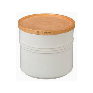 Le Creuset Le Creuset Storage Canister with Wood Lid 1.5 Qt White