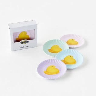 "One Hundred 80 Degrees One Hundred 80 Degrees Peeps Melamine ""Paper"" Plate Coasters set of 4 Assorted"