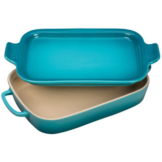 Le Creuset Le Creuset Rectangular Dish with Platter Lid Caribbean 14.75x9x2.5 inch 2.75 Qt