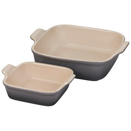 Le Creuset Le Creuset Heritage Square Dishes set of 2 Oyster Grey