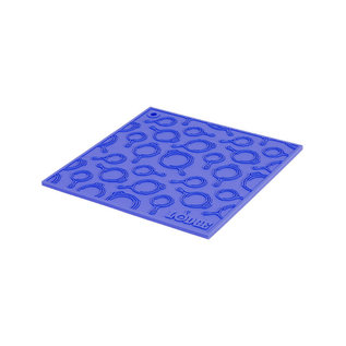 Lodge Cast Iron Lodge Silicone Trivet w Skillet Pattern 7 inch Square Blue