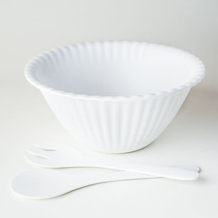 "One Hundred 80 Degrees One Hundred 80 Degrees Washable Melamine ""Paper"" Salad Bowl w Tongs 3pc set"