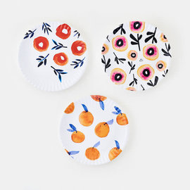 "One Hundred 80 Degrees One Hundred 80 Degrees Spring Poppy Melamine ""Paper"" Platter 16 inch Assorted Sold Individually"