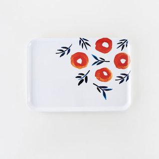 One Hundred 80 Degrees One Hundred 80 Degrees Spring Poppy Rectangular Melamine Tray 9x13 inch