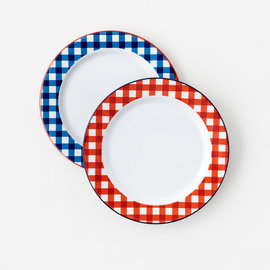 """One Hundred 80 Degrees One Hundred 80 Degrees Melamine """"Enamel"""" Gingham Charger Plate 11.5 inch Assorted Sold Individually"""