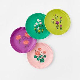 """One Hundred 80 Degrees One Hundred 80 Degrees Spring Les Fleurs Melamine """"Paper"""" Plates set of 4 Assorted"""