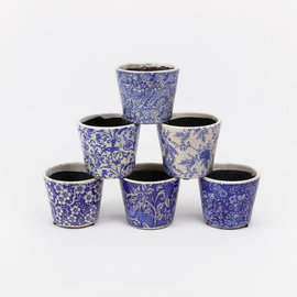 One Hundred 80 Degrees One Hundred 80 Degrees Spring Blue & White Stoneware Plant Pot 4.75 inch Assorted Sold Individually