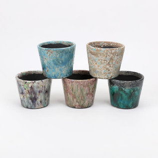 One Hundred 80 Degrees One Hundred 80 Degrees Spring Mottled Colors Stoneware Plant Pot 4.75 inch Assorted Sold Individually