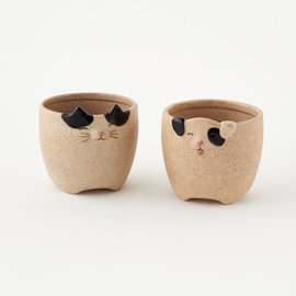One Hundred 80 Degrees One Hundred 80 Degrees Cat or Dog Stoneware Plant Pot 3 inch Assorted Sold Individually