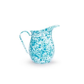 Crow Canyon Enamelware Pitcher Turquoise Marble Splatter 3 Qt
