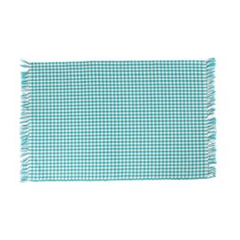 Mahogany USA Mahogany Gingham Turquoise Ribbed Placemats 13 in. x 19 in. set of 4