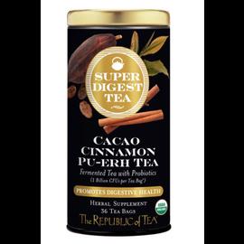 Republic of Tea The Republic of Tea Organic Cacao Cinnamon Pu-erh SuperDigest Tea Round Bags 36 Serving Tin