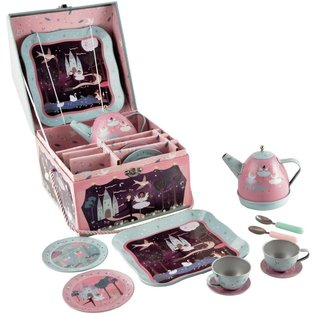 Floss & Rock Floss & Rock Enchanted Musical Tin Tea Set in House Case