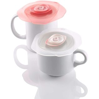 """Charles Viancin Charles Viancin Rose 4"""" Drink Covers Candy Pink/Frozen White Set of 2"""