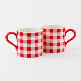 One Hundred 80 Degrees One Hundred 80 Degrees Porcelain Red Gingham Mug