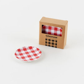 """One Hundred 80 Degrees One Hundred 80 Degrees Red Gingham Melamine """"Paper"""" Plate Coasters set of 4 Assorted"""