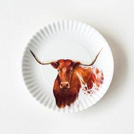 """One Hundred 80 Degrees One Hundred 80 Degrees Longhorn Melamine """"Paper"""" Plates set of 4"""