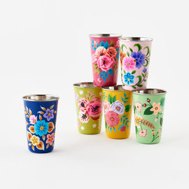 One Hundred 80 Degrees One Hundred 80 Degrees Hand Painted Floral Stainless Steel Cup Assorted SOLD INDIVIDUALLY hand wash only