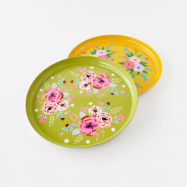 One Hundred 80 Degrees One Hundred 80 Degrees Hand Painted Floral Tray 15.5 inch Assorted SOLD INDIVIDUALLY hand wash only