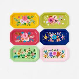 One Hundred 80 Degrees One Hundred 80 Degrees Rectangular Hand Painted Floral Tray 8.5 inch Metal Assorted SOLD INDIVIDUALLY hand wash only