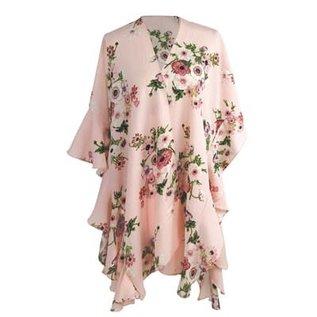 DM Merchandising Inc DM Merchandising Ruffled Sleeve Kimono Blush