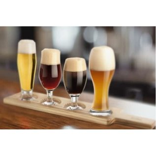 Final Touch 6 Piece Beer Tasting Paddle Set dark wood