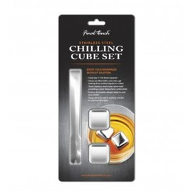 """Final Touch 1"""" Stainless Steel Chilling Cube Set (tongs + 2 cubes)"""