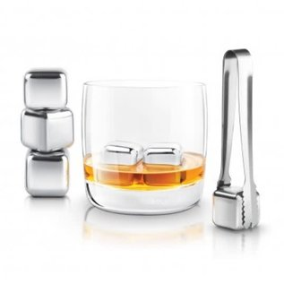 """Final Touch 1"""" Stainless Steel Chilling Cube Set (tongs + 6 cubes)"""