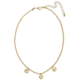 "Canvas Jewelry Canvas Champagne Glass Bead Disc Layering Necklace 15"" CLOSEOUT"