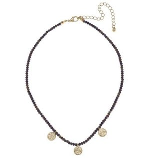 Canvas Jewelry Canvas Dark Gray Glass Bead Disc Layering Necklace 15""