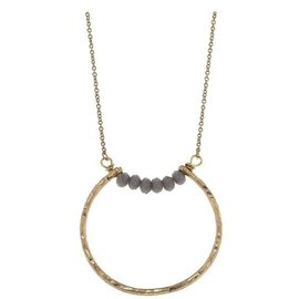 "Canvas Jewelry Canvas Open Geometric Pendant Necklace Gray/Gold 26"" adjustable CLOSEOUT"