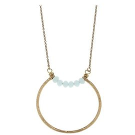 "Canvas Jewelry Canvas Open Geometric Pendant Necklace Aqua/Gold 26"" adjustable CLOSEOUT"
