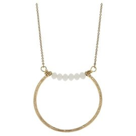 "Canvas Jewelry Canvas Open Geometric Pendant Necklace White/Gold 26"" adjustable CLOSEOUT/NO RETURN"