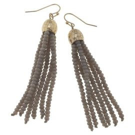 Canvas Jewelry Canvas Light Gray/Gold Glass Bead Tassel Earrings CLOSEOUT